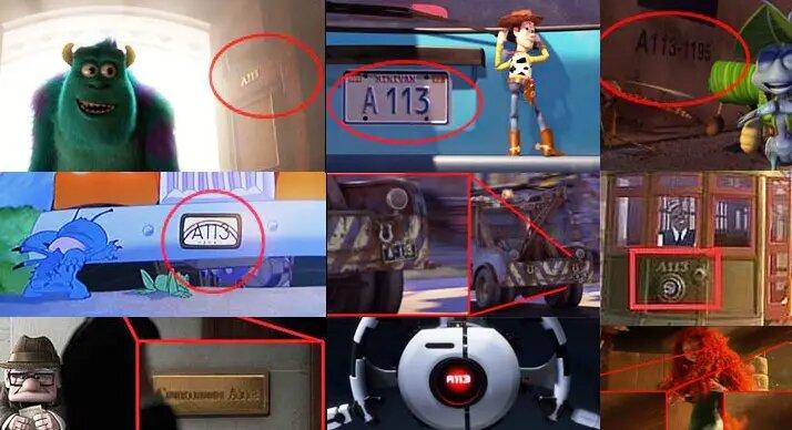 La placa del carro de la mama de Andy (A-113), es el número del aula en la que estudiaron muchos de los que trabajan en Disney Pixar, incluso, esa numeración sale también en escenas de otras películas de Disney como Lilo y Stitch y The Avengers.