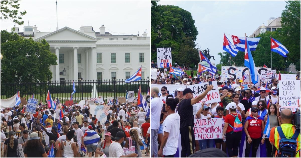 Cubanos se manifiestan frente a la Casa Blanca en Washington